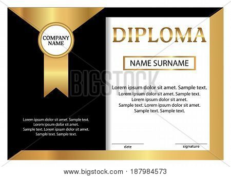 Diploma or certificate. Golden and black template. Vector illustration.
