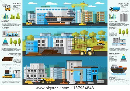Industrial factory brochure with shipbuilding plant timber mill and building manufacturing vector illustration