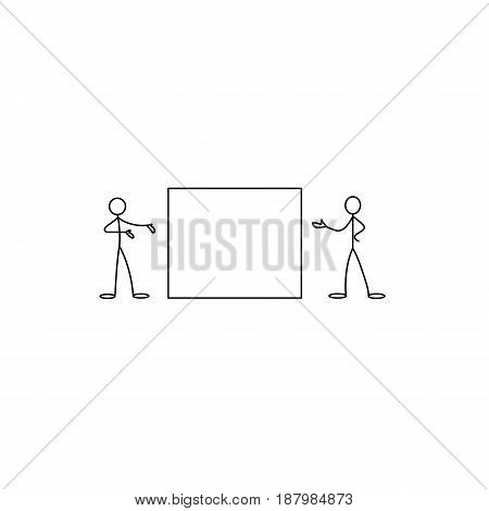 Cartoon icons of sketch stick business figures vector people in cute miniature scenes.
