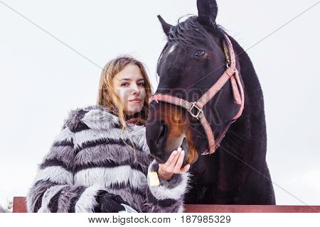 Nice Girl And Horse Outdoor In A Winter