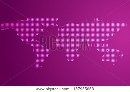 Worldmap template silhouette with glow dots. World map for infographic. Vector illustration isolated on white