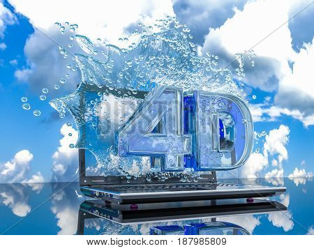 Splash water from the laptop screen with symbols 4d 3d render