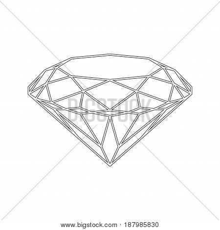 Diamond icon. Vector Illustration. Shiny crystal sign. Brilliant stone. Black stroke isolated on white background. Fashion modern design. Flat element. Symbol gift jewel gem or royal rich.