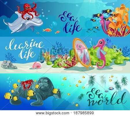 Cartoon colorful sea animals horizontal banners with octopus dolphin fishes seahorse seal crab and marine plants vector illustration