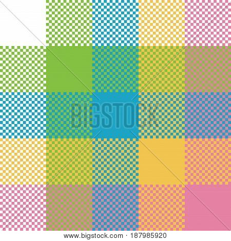 Baby color pixel plaid seamless pattern. Vector illustration.