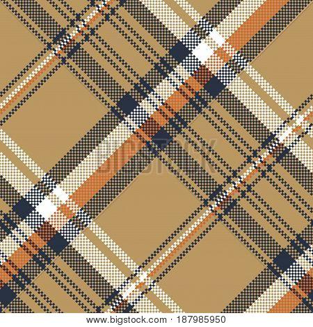Beige check plaid tartan pixel seamless pattern. Vector illustration.