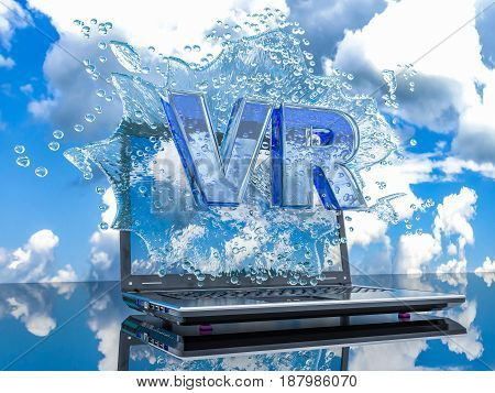 Splash water from the laptop screen with symbols VR 3d render