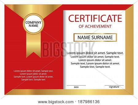 Certificate of achievement or diploma. Golden and red template. Vector illustration.