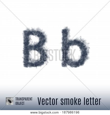 Smoke in Shape of the Letter B on White Background