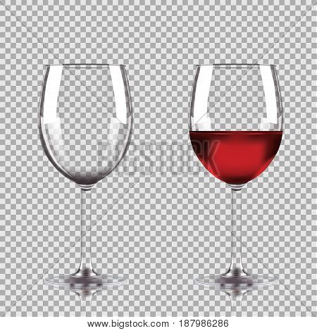 Wine glasses - empty, half full. Set of transparent vector wineglass with red wine