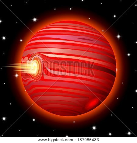 Planet in space with stars, shiny cartoon style