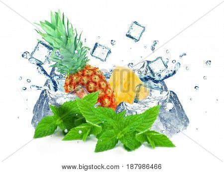 Pineapple splash and ice cubes isolated on a white background