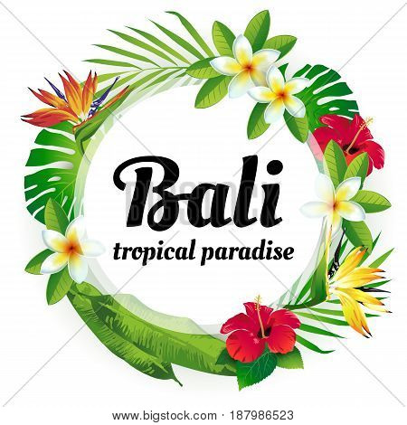 Wreath from tropical flowers and plants. Tropical paradise. Bali.