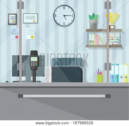 Bank teller workplace. Books, cup, plant, clocks, computer and keypad terminal. People service and payment. Vector illustration in flat style