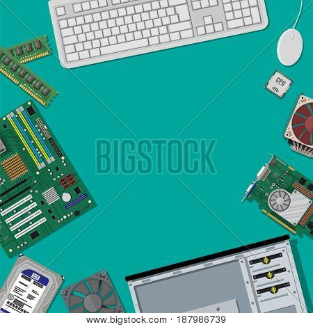 Motherboard, hard drive, cpu, fan, graphic card, memory and case. Mouse and keyboard. Assembling PC. Personal computer hardware. Vector illustration in flat style