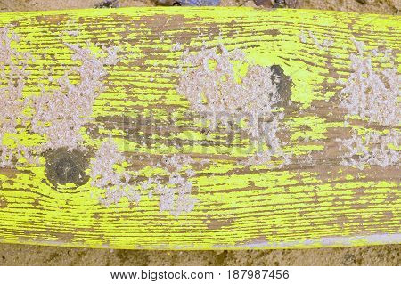 Old yellow colored dyes on the wood