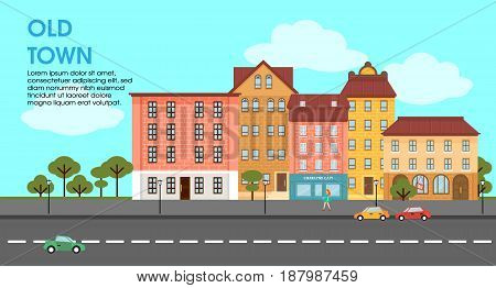 Flat colorful cityscape poster with municipal and living buildings trees and moving cars vector illustration