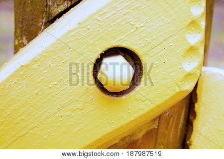 Screw Joint Point Of Wooden Beams And Wooden Construction