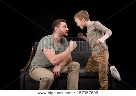 Father And Son Quarreling And Screaming At Each Other, Family Problems Concept