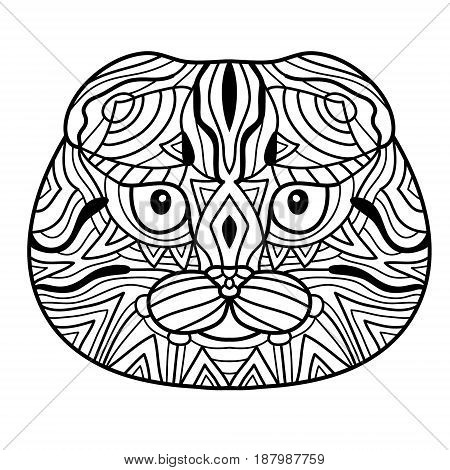 Black and white ink drawing. The head of a cat breed Scottish fold with pattern. Coloring book for adults. Doodle illustration.