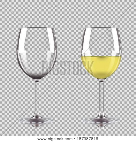 Glass of white wine and empty glass. Vector illustration isolated on transparent background