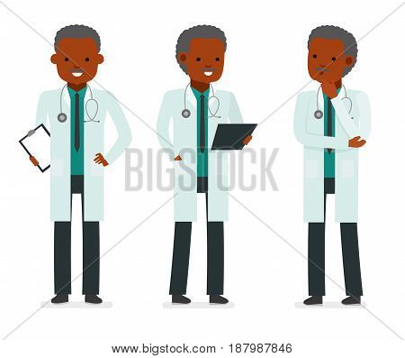Set character male doctor in various poses. Element for medical information poster. Children's doctor. Pediatrician. African Americans people. Vector illustration in a flat style
