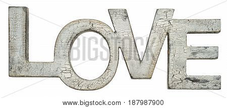 cracked wooden word love isolated on white background