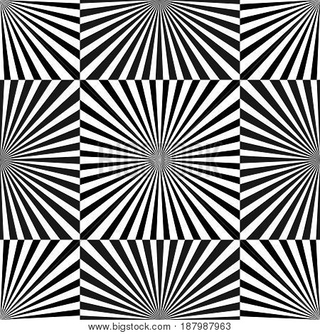 Set of Illusion rays. Vector Illustration. Retro sunburst background. Grunge design element. Black and white backdrop. Good for pictures, wallpapers