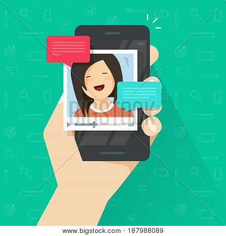 Online video call on smartphone vector illustration, flat cartoon style mobile phone with video chat technology, people talking online via cellphone