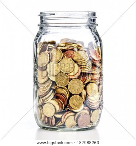 coins euro in classic glass jar save concept