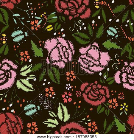 Embroidery Stitches With Roses Meadow Flowers. Hand Drawn Vector Fashion Seamless Pattern On Black Background. For Fabric Textile Decoration.