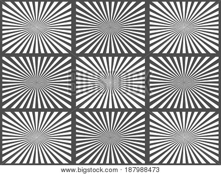 Set of black and white rays. Vector Illustration. Retro sunburst background. Grunge design element. Black and white backdrop. Good for pictures, wallpapers
