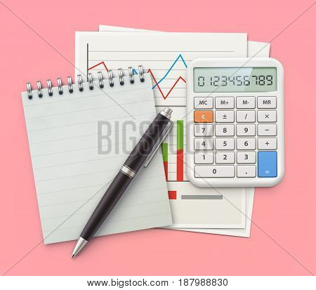 Vector illustration of business concept with coil bound notebook finance graphs classic ballpoint pen and electronic calculator
