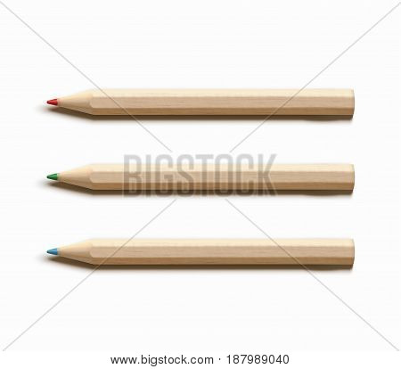 Vector illustration of three colored sharpened detailed wooden pencils isolated on white background