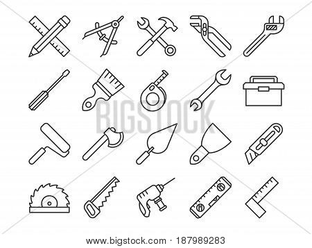 Mechanical tools line vector icons. Linear tools ax and spanner illustration