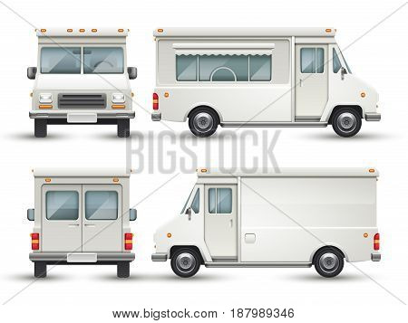White blank food car, commercial truck isolated vector template for restaurant brand identity and logo design. Van vehicle service illustration