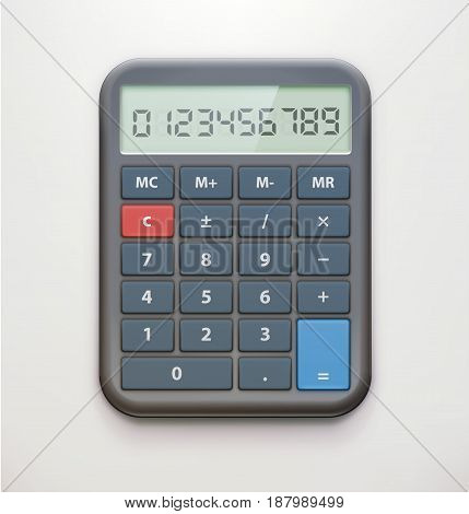 Vector illustration of the realistic electronic calculator