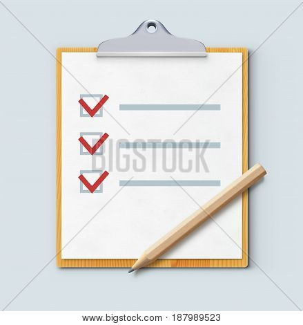 Vector illustration of cool check list on the wooden clipboard with sharpened detailed pencil