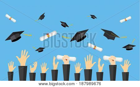 Graduating students of pupil hands in gown throwing graduation caps and diploma scroll in the air, vector illustration in flat style