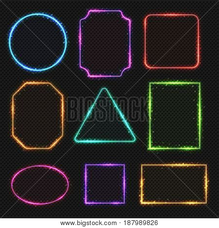 Multicolored neon vector border frames. Simple shapes of light banners oval and square, illustration of rectangle and triangle color frames
