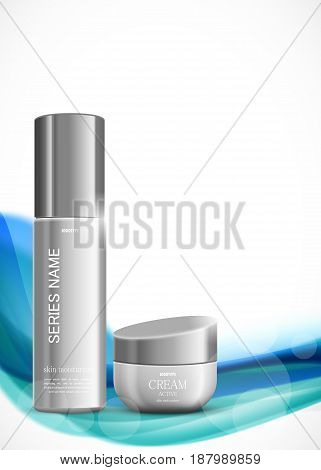 Skin moisturizer cosmetic ads template with gray realistic packages on wavy colorful light dynamic smooth lines background. Vector illustration