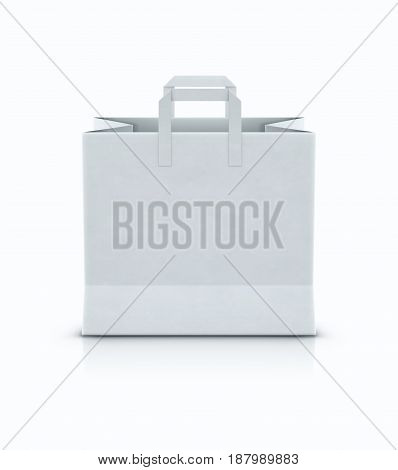 Vector illustration of white shopping paper bag with paper handles isolated on white background