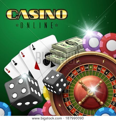 Online casino gambling vector background with roulette, dice and poker cards. Poker and dice in casino online illustration