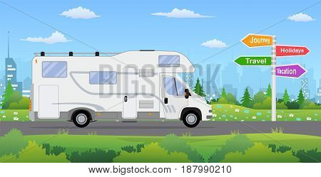 camper van on city background. Travel, journey, holidays road sign. Vector illustration in flat style