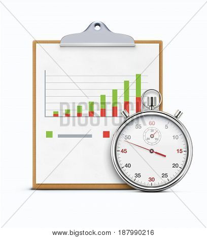 Vector illustration of timing concept with realistic stopwatch clipboard and productivity chart