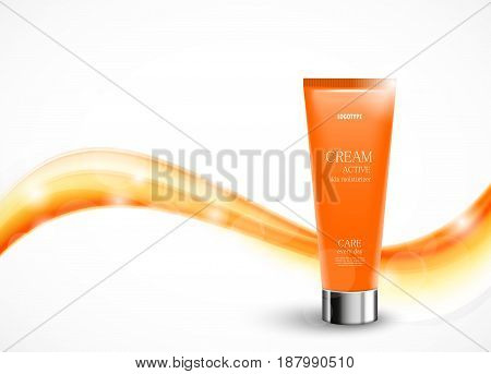 Body cream cosmetic ads template with orange realistic plastic bottle on bright wavy soft bent smooth lines background. Vector illustration