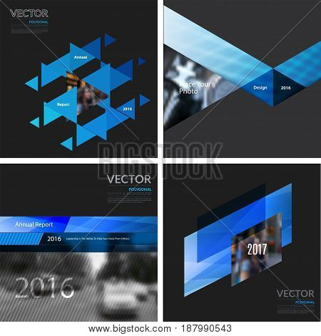 Business vector design elements for graphic layout. Modern abstract background template with blue squares, triangles, diagonal geometric shapes for tech in clean minimal style.