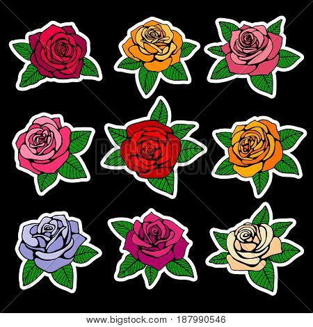 Roses fashion vector patches and stickers in nineties style design. Sticker design rose, illustration of fashion colored rose