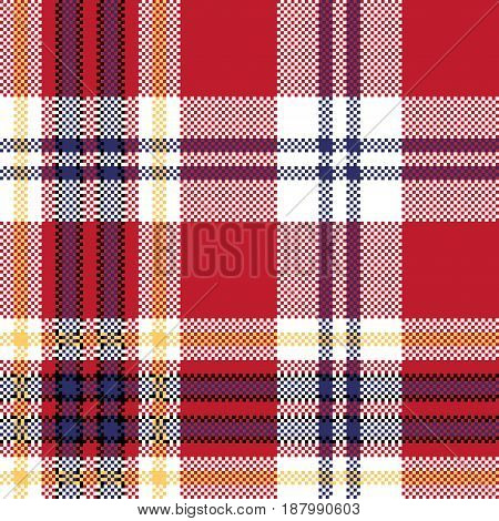 Red plaid seamless fabric texture. Vector illustration.