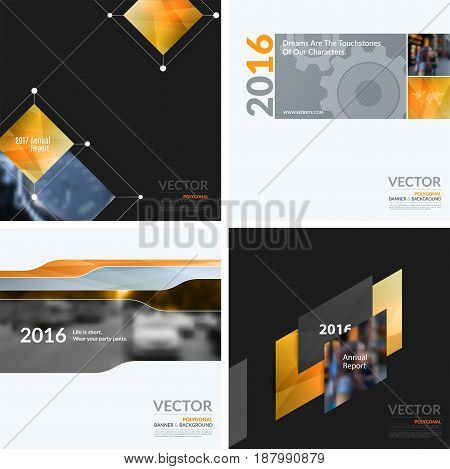 Business vector design elements for graphic layout. Modern abstract background template with orange squares, triangles, diagonal geometric shapes for tech in clean minimal style.